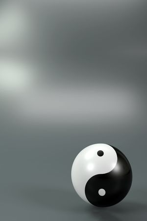 chinese philosophy: Modern Yin Yang symbol on a diffuse background Stock Photo