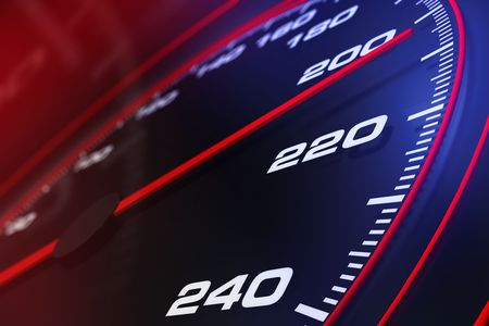 kilometer: Speedometer up and close Stock Photo