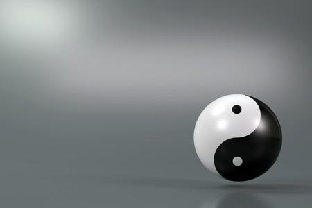 yin yang: Moderno s�mbolo Yin Yang sobre un fondo difuso