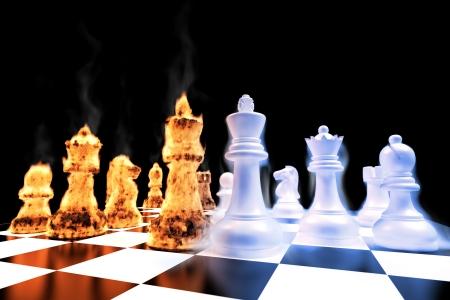 tablero de ajedrez: Batalla de fuego y hielo en un tablero de ajedrez  Foto de archivo