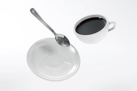 zero gravity: Gravit� zero tazza di caff�, piattino e cucchiaio  Archivio Fotografico
