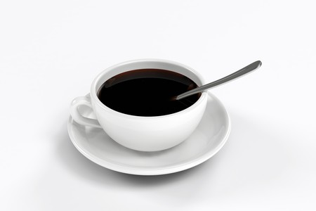 Close up of a cup of coffee including a spoon Stock Photo