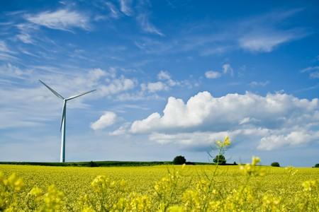 Een windmolen in een verkrachting veld op een achtergrond van de blauwe hemel Stockfoto