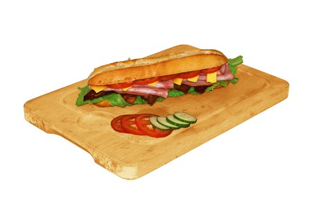 hoagie: A tasty footlong or hoagie sandwich isolated on white Stock Photo