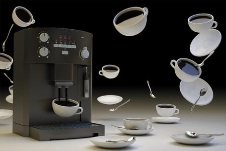 zero gravity: Immagine surreale di tazze di caff� a gravit� zero
