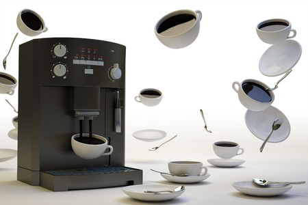 Surreal picture of coffee cups in zero gravity Stock Photo