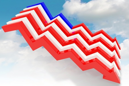 Graph in the shape of the American flag Stock Photo