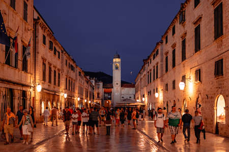 The main street of Dubrovnik old town at night