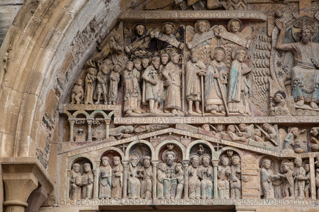 Detail of the polychromatic tympanum of the abbey church of Sainte-Foy de Conques