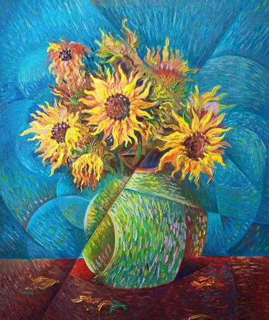 Sunflowers oil painting in a vase, impressionist style bouquet, similar to van gogh, colorful sunflowers bouquet