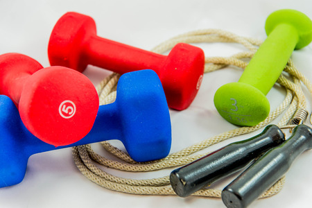 dumbbells and jump rope