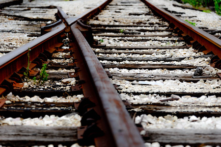 railroad tracks with a split that ends photo