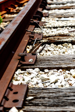 railroad spikes coming up photo
