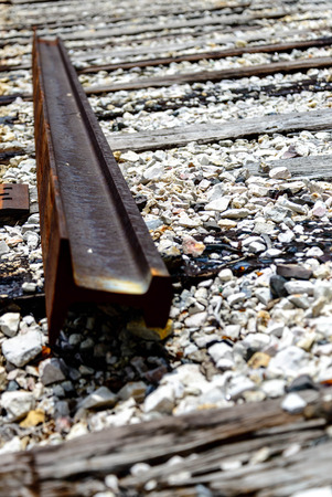 railroad tracks with loose and damaged rails photo