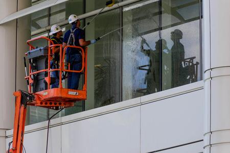 window washing workers on skyjack Redakční