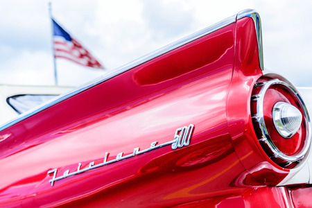taillight: 1950 s red and white Ford Fairlane taillight
