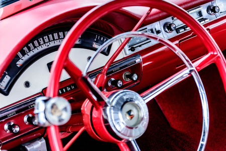 1950 s red and white Ford Fairlane dashboard
