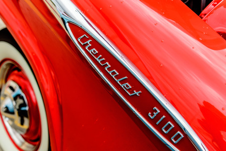 chevy: 1960s red chevy truck Editorial