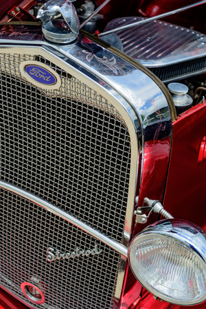 restored: restored red  ford streetrod grill