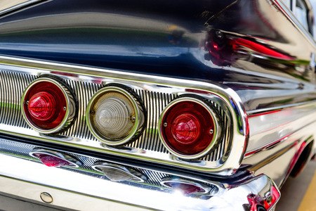 1961 blue Chevrolet Impala taillights Stock Photo