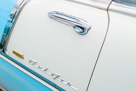 1950 s blue and white chevy belair
