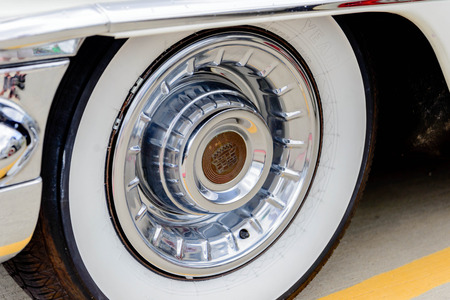 1950 s cadillac wheel with emblem Editorial
