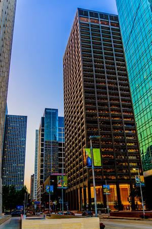 휴스턴 시내의 건물과 거리 풍경 에디토리얼