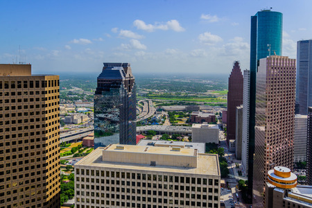 Downtown Houston buildings and streetscapes Archivio Fotografico