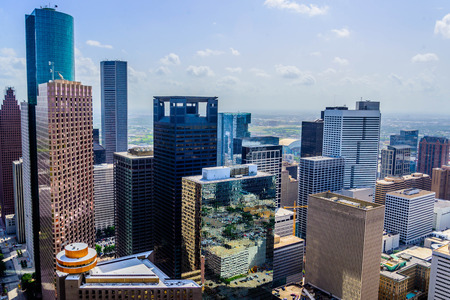 Downtown Houston gebouwen en straatbeelden Stockfoto