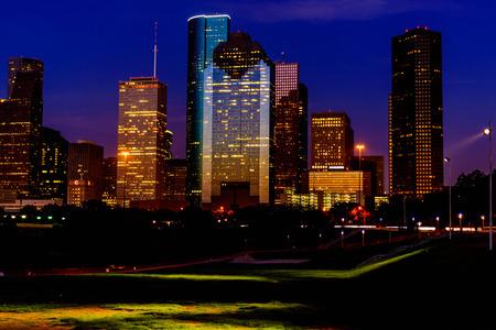 Houston downtown buildings at dusk Archivio Fotografico