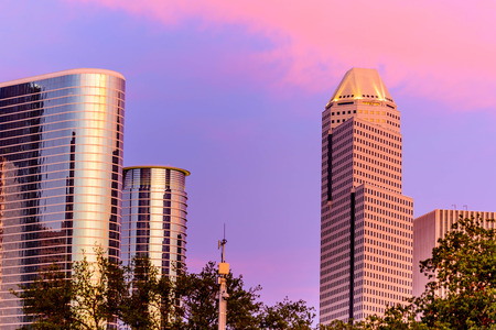 Houston downtown buildings at dusk