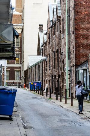 Streeetscap down a back alley in downtown Philadelphia