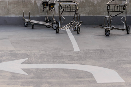luggage carts at an airport parking garage