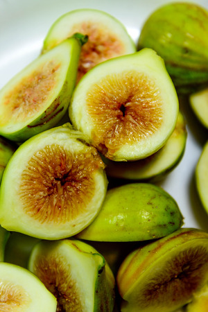 sliced green ripe figs ready to eat