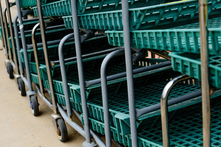 green nursery carts lined up and ready for use Reklamní fotografie