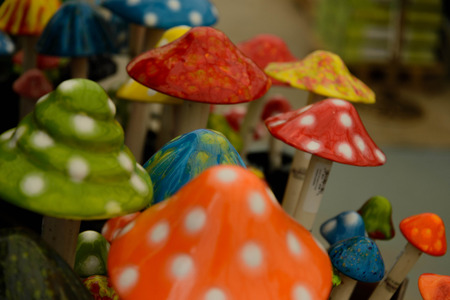 vibrant colorful ceramic mushroom caps