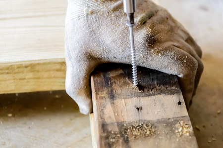 construction project: hand and tools doing wood work construction project Stock Photo
