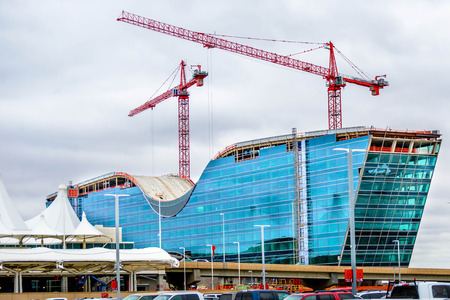new addition: DIA, DEN, Denver International Airport, Colorado - new modern glass hotel addition to the airport