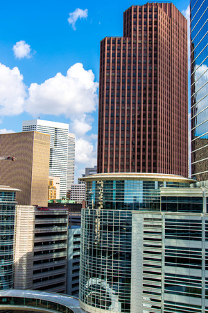 Downtown Houston highrise buildings with a blue sky photo