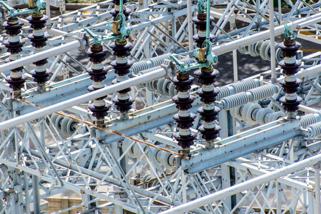 electrical power substation, transformers, insulators