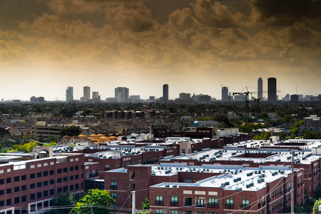 Downtown Houston highrise building skyline at dusk photo