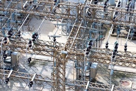 insulators: electrical power substation, transformers, insulators