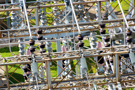 electrical power substation, transformers, insulators Imagens - 32773584