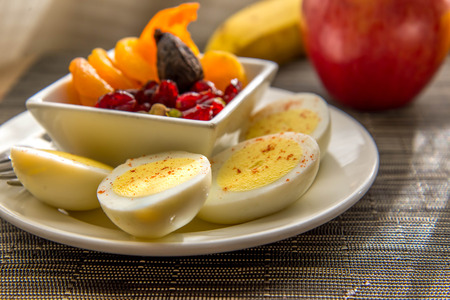 Sliced Hard Boiled Eggs And Fruit Healthy Breakfast Stock Photo Picture Royalty Free Image 33071823