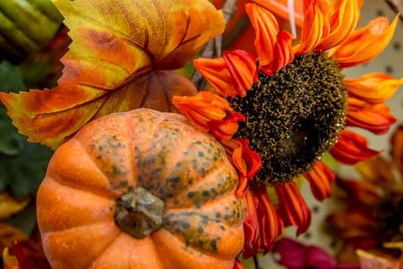 colorful fall decorations - pumpkins, leaves Reklamní fotografie