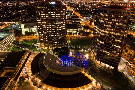 Aerial of downtown buildings at night in Phoenix, Arizona