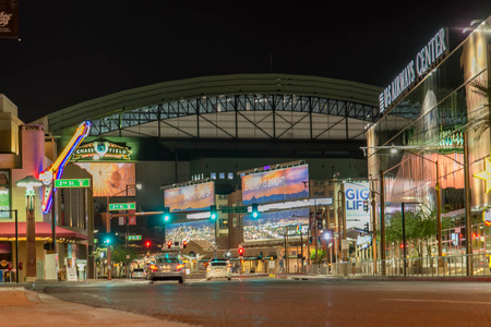 US Airways and Chase Field at night in Phoenix, Arizona Editorial