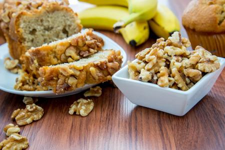 fresh banana nut bread with walnuts