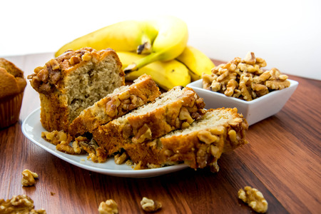 fresh banana nut bread with walnuts
