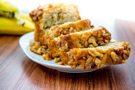 banana bread: fresh banana nut bread with walnuts